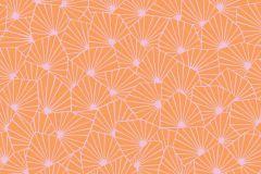 1468 cikkszámú tapéta.Absztrakt,gyerek,virágmintás,fehér,narancs-terrakotta,lemosható,vlies tapéta
