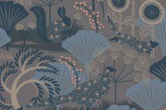 1470 cikkszámú tapéta.Absztrakt,gyerek,rajzolt,természeti mintás,virágmintás,barna,bézs-drapp,kék,lemosható,vlies tapéta