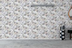 1471 cikkszámú tapéta.Absztrakt,állatok,gyerek,rajzolt,természeti mintás,virágmintás,bézs-drapp,fehér,szürke,lemosható,vlies tapéta