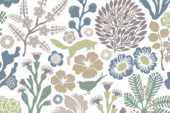 1472 cikkszámú tapéta.Absztrakt,állatok,gyerek,rajzolt,természeti mintás,virágmintás,barna,bézs-drapp,fehér,kék,zöld,lemosható,vlies tapéta