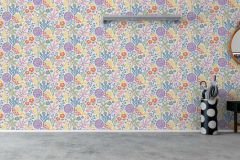 1473 cikkszámú tapéta.Absztrakt,állatok,gyerek,rajzolt,természeti mintás,virágmintás,zöld,fehér,kék,lila,narancs-terrakotta,sárga,lemosható,vlies tapéta