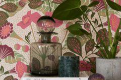 1474 cikkszámú tapéta.Absztrakt,gyerek,rajzolt,természeti mintás,virágmintás,barna,bézs-drapp,lila,pink-rózsaszín,zöld,lemosható,vlies tapéta