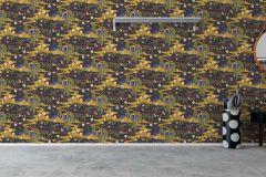 1479 cikkszámú tapéta.Absztrakt,állatok,gyerek,rajzolt,természeti mintás,virágmintás,barna,bézs-drapp,fekete,kék,narancs-terrakotta,sárga,zöld,lemosható,vlies tapéta