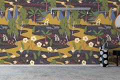 1481 cikkszámú tapéta.Absztrakt,állatok,gyerek,rajzolt,természeti mintás,virágmintás,bézs-drapp,fekete,kék,sárga,zöld,vlies panel, fotótapéta