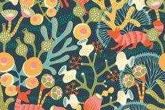 1482 cikkszámú tapéta.Absztrakt,állatok,gyerek,rajzolt,természeti mintás,virágmintás,barna,kék,narancs-terrakotta,piros-bordó,sárga,türkiz,zöld,vlies panel, fotótapéta