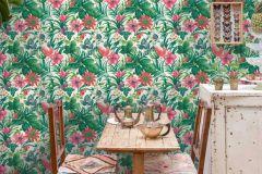 BA2001 cikkszámú tapéta.Konyha-fürdőszobai,tájkép,természeti mintás,virágmintás,fehér,pink-rózsaszín,piros-bordó,türkiz,zöld,súrolható,vlies tapéta