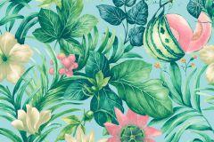 BA2002 cikkszámú tapéta.Konyha-fürdőszobai,rajzolt,természeti mintás,virágmintás,kék,pink-rózsaszín,sárga,vajszín,zöld,súrolható,vlies tapéta