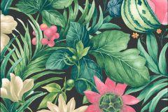 BA2003 cikkszámú tapéta.Konyha-fürdőszobai,rajzolt,természeti mintás,virágmintás,fekete,pink-rózsaszín,sárga,zöld,súrolható,vlies tapéta