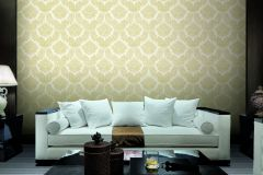 BL1001-1 cikkszámú tapéta.Barokk-klasszikus,különleges felületű,arany,fehér,lemosható,vlies tapéta