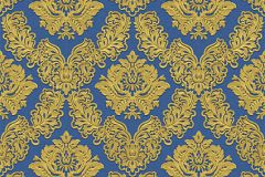 BL1001-5 cikkszámú tapéta.Barokk-klasszikus,különleges felületű,arany,kék,lemosható,vlies tapéta