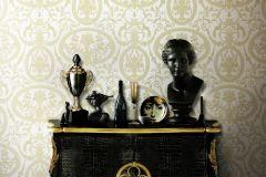 BL1003-5 cikkszámú tapéta.Barokk-klasszikus,különleges felületű,arany,fehér,lemosható,vlies tapéta