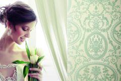BL1003-6 cikkszámú tapéta.Barokk-klasszikus,különleges felületű,bézs-drapp,szürke,zöld,lemosható,vlies tapéta