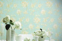 BL1005-2 cikkszámú tapéta.Barokk-klasszikus,különleges felületű,virágmintás,arany,kék,lemosható,vlies tapéta