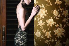 BL1005-5 cikkszámú tapéta.Barokk-klasszikus,különleges felületű,virágmintás,arany,barna,lemosható,vlies tapéta