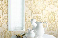 BL1007-3 cikkszámú tapéta.Barokk-klasszikus,különleges felületű,arany,fehér,lemosható,vlies tapéta