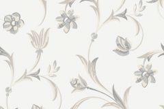 5361 cikkszámú tapéta.Barokk-klasszikus,virágmintás,bézs-drapp,fehér,szürke,lemosható,vlies tapéta