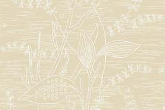 5369 cikkszámú tapéta.Rajzolt,természeti mintás,virágmintás,bézs-drapp,fehér,lemosható,vlies tapéta