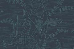 5371 cikkszámú tapéta.Rajzolt,természeti mintás,virágmintás,fekete,zöld,lemosható,vlies tapéta