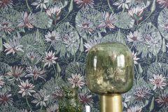 5372 cikkszámú tapéta.Rajzolt,természeti mintás,virágmintás,barna,kék,narancs-terrakotta,zöld,lemosható,vlies tapéta