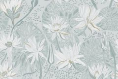 5373 cikkszámú tapéta.Rajzolt,természeti mintás,virágmintás,fehér,kék,szürke,zöld,lemosható,vlies tapéta