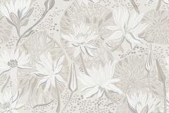5374 cikkszámú tapéta.Rajzolt,természeti mintás,virágmintás,fehér,szürke,lemosható,vlies tapéta