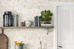 5396 cikkszámú tapéta.Rajzolt,retro,virágmintás,bézs-drapp,fehér,narancs-terrakotta,sárga,zöld,lemosható,vlies tapéta