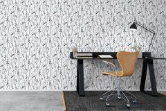 6060 cikkszámú tapéta.Fa hatású-fa mintás,különleges motívumos,rajzolt,természeti mintás,fehér,fekete,lemosható,vlies tapéta