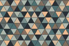 8809 cikkszámú tapéta.Absztrakt,geometriai mintás,arany,kék,türkiz,zöld,lemosható,vlies tapéta