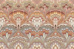 6387 cikkszámú tapéta.Barokk-klasszikus,geometriai mintás,bézs-drapp,kék,narancs-terrakotta,lemosható,vlies tapéta