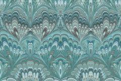 6388 cikkszámú tapéta.Barokk-klasszikus,geometriai mintás,metál-fényes,türkiz,lemosható,vlies tapéta