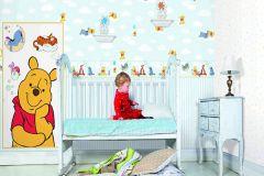 RF3009-1 cikkszámú tapéta.Csíkos,gyerek,fehér,kék,gyengén mosható,illesztés mentes,papír tapéta