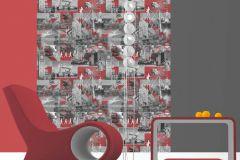 102509 cikkszámú tapéta.Feliratos-számos,retro,piros-bordó,szürke,gyengén mosható,vlies tapéta