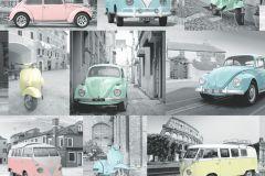 102563 cikkszámú tapéta.Fotórealisztikus,kék,pink-rózsaszín,sárga,szürke,zöld,gyengén mosható,vlies tapéta