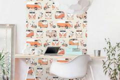 J05915 cikkszámú tapéta.Fotórealisztikus,gyerek,fehér,narancs-terrakotta,szürke,gyengén mosható,vlies tapéta