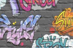 L17901 cikkszámú tapéta.Gyerek,kék,lila,pink-rózsaszín,sárga,szürke,gyengén mosható,vlies tapéta