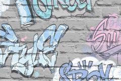 L17906 cikkszámú tapéta.Gyerek,rajzolt,kék,lila,szürke,gyengén mosható,vlies tapéta