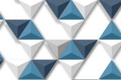 L57501 cikkszámú tapéta.3d hatású,geometriai mintás,különleges felületű,különleges motívumos,fehér,kék,szürke,lemosható,vlies tapéta
