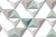 L57504 cikkszámú tapéta.3d hatású,geometriai mintás,különleges felületű,különleges motívumos,barna,bézs-drapp,fehér,türkiz,zöld,lemosható,vlies tapéta