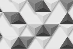 L57509 cikkszámú tapéta.3d hatású,geometriai mintás,különleges felületű,különleges motívumos,fehér,fekete,szürke,lemosható,vlies tapéta