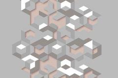 L57703 cikkszámú tapéta.3d hatású,dekor,különleges felületű,különleges motívumos,fehér,pink-rózsaszín,szürke,lemosható,illesztés mentes,vlies tapéta