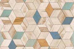 L59301 cikkszámú tapéta.3d hatású,geometriai mintás,különleges felületű,különleges motívumos,barna,bézs-drapp,kék,türkiz,zöld,lemosható,vlies tapéta