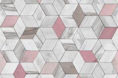 L59303 cikkszámú tapéta.3d hatású,geometriai mintás,különleges felületű,különleges motívumos,pink-rózsaszín,szürke,lemosható,vlies tapéta