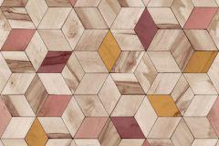 L59310 cikkszámú tapéta.3d hatású,geometriai mintás,különleges felületű,különleges motívumos,barna,bézs-drapp,pink-rózsaszín,piros-bordó,sárga,lemosható,vlies tapéta