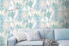 L59801 cikkszámú tapéta.Absztrakt,geometriai mintás,különleges felületű,különleges motívumos,fehér,kék,türkiz,zöld,lemosható,vlies tapéta