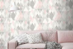 L59803 cikkszámú tapéta.Absztrakt,geometriai mintás,különleges felületű,különleges motívumos,fehér,pink-rózsaszín,szürke,lemosható,vlies tapéta