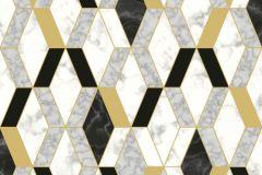 L63802 cikkszámú tapéta.Konyha-fürdőszobai,kőhatású-kőmintás,különleges felületű,metál-fényes,fehér,fekete,sárga,szürke,lemosható,vlies tapéta