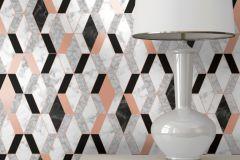 L63805 cikkszámú tapéta.Konyha-fürdőszobai,kőhatású-kőmintás,különleges felületű,metál-fényes,fehér,fekete,narancs-terrakotta,szürke,lemosható,vlies tapéta