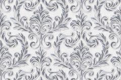 402719 cikkszámú tapéta.Barokk-klasszikus,csillámos,különleges felületű,ezüst,fekete,szürke,lemosható,vlies tapéta
