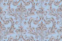 402733 cikkszámú tapéta.Barokk-klasszikus,csillámos,különleges felületű,barna,bézs-drapp,kék,lemosható,vlies tapéta