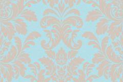 402832 cikkszámú tapéta.Barokk-klasszikus,csillámos,különleges felületű,bézs-drapp,kék,lemosható,vlies tapéta